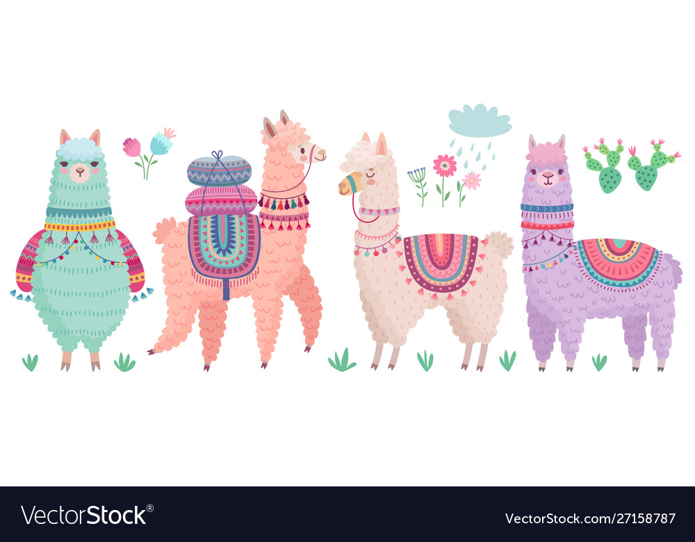 Cute llamas with funny quotes funny hand drawn