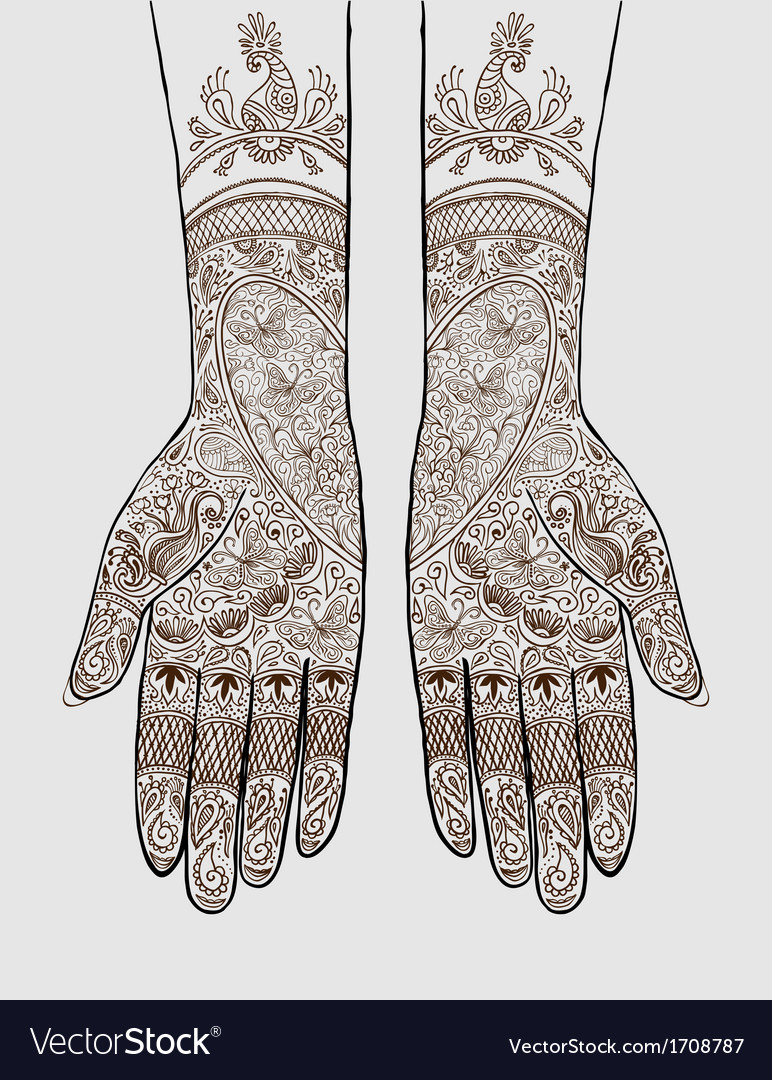 hands with henna tattoo royalty free vector image