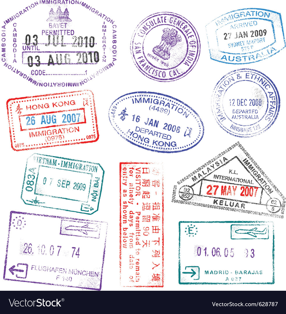 Highly detailed passport stamps