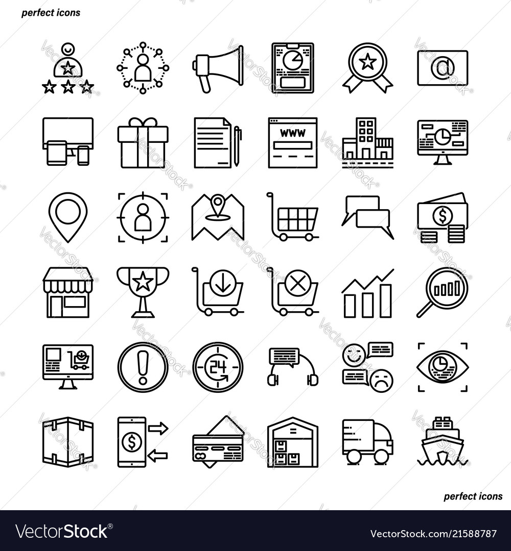 Marketing outline icons perfect pixel