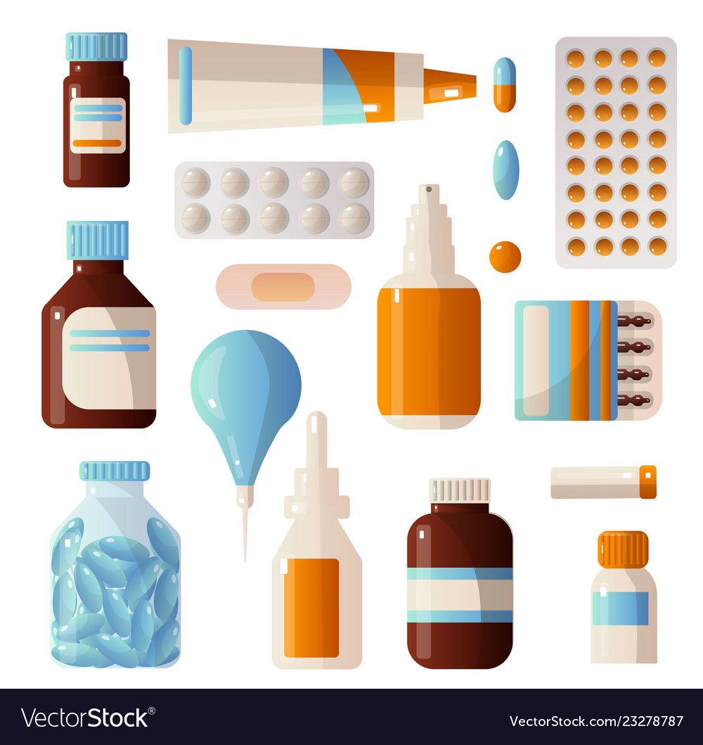 Medical sets of drugs that contain various pills