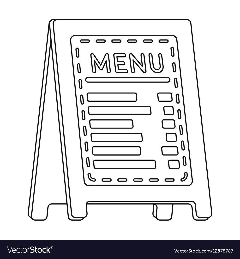 menu of pizzeria icon in outline style isolated on