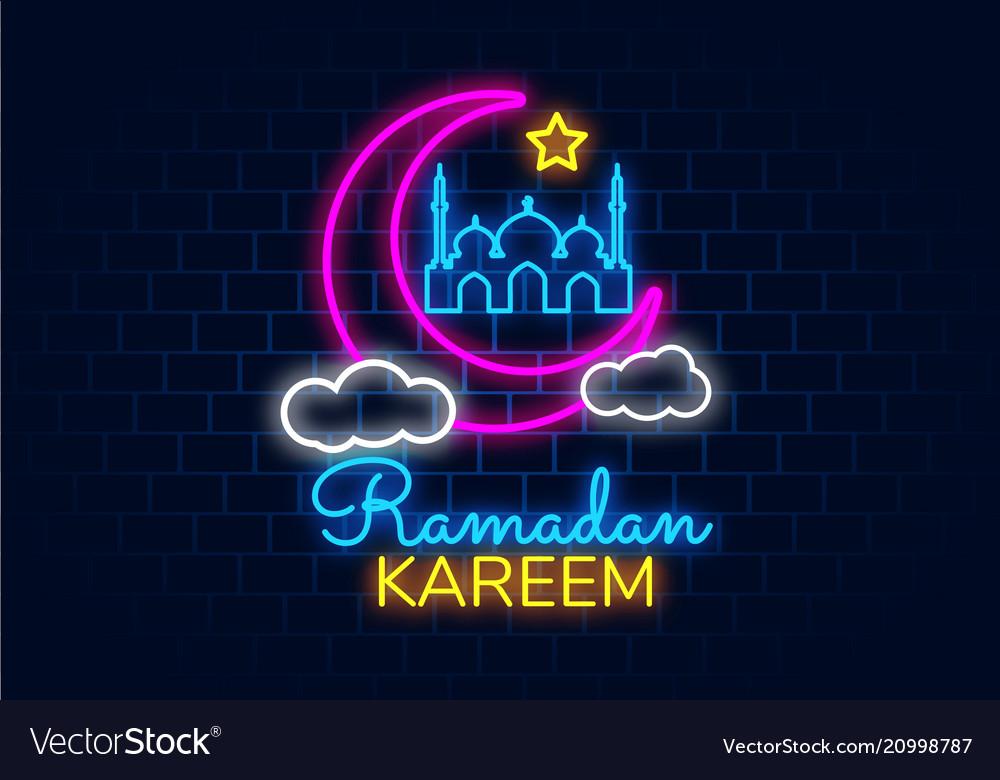 Ramadan kareem banner in neon style night bright
