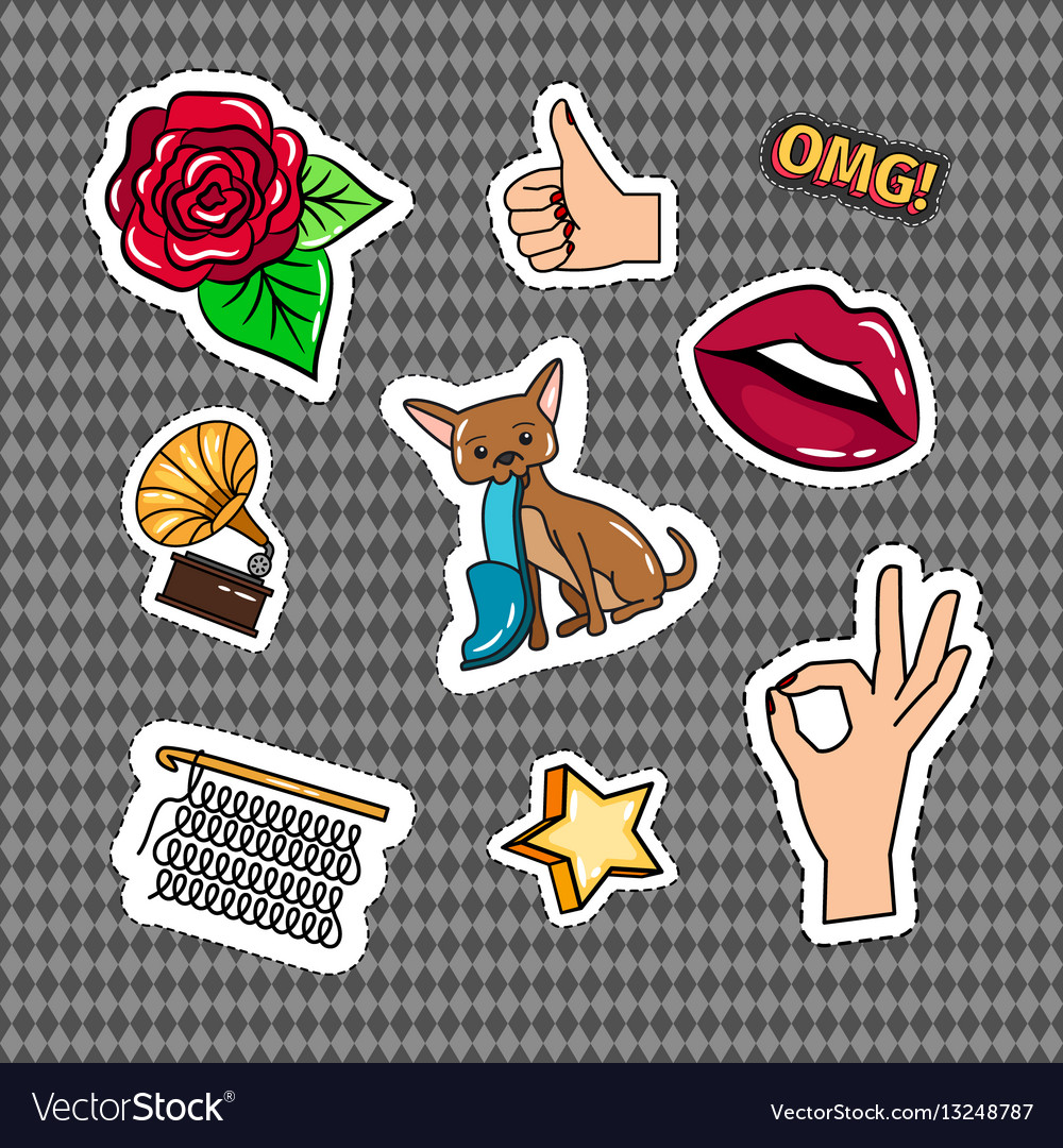 Retro quirky style stickers set
