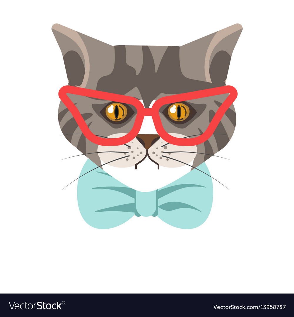 Siberian cat with red glasses and blue tie vector image