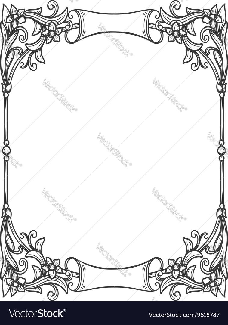 Vintage decorative floral frame