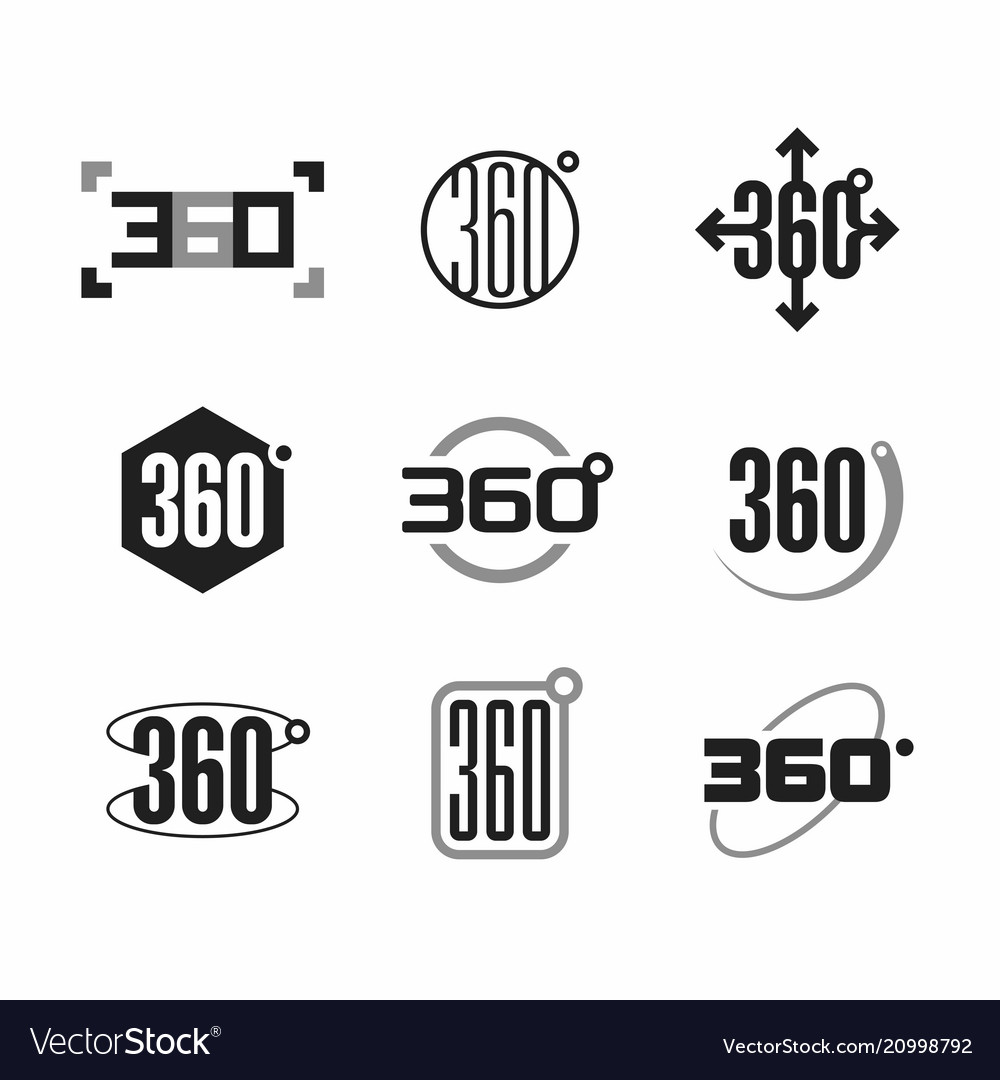 360 degrees view sign icons set