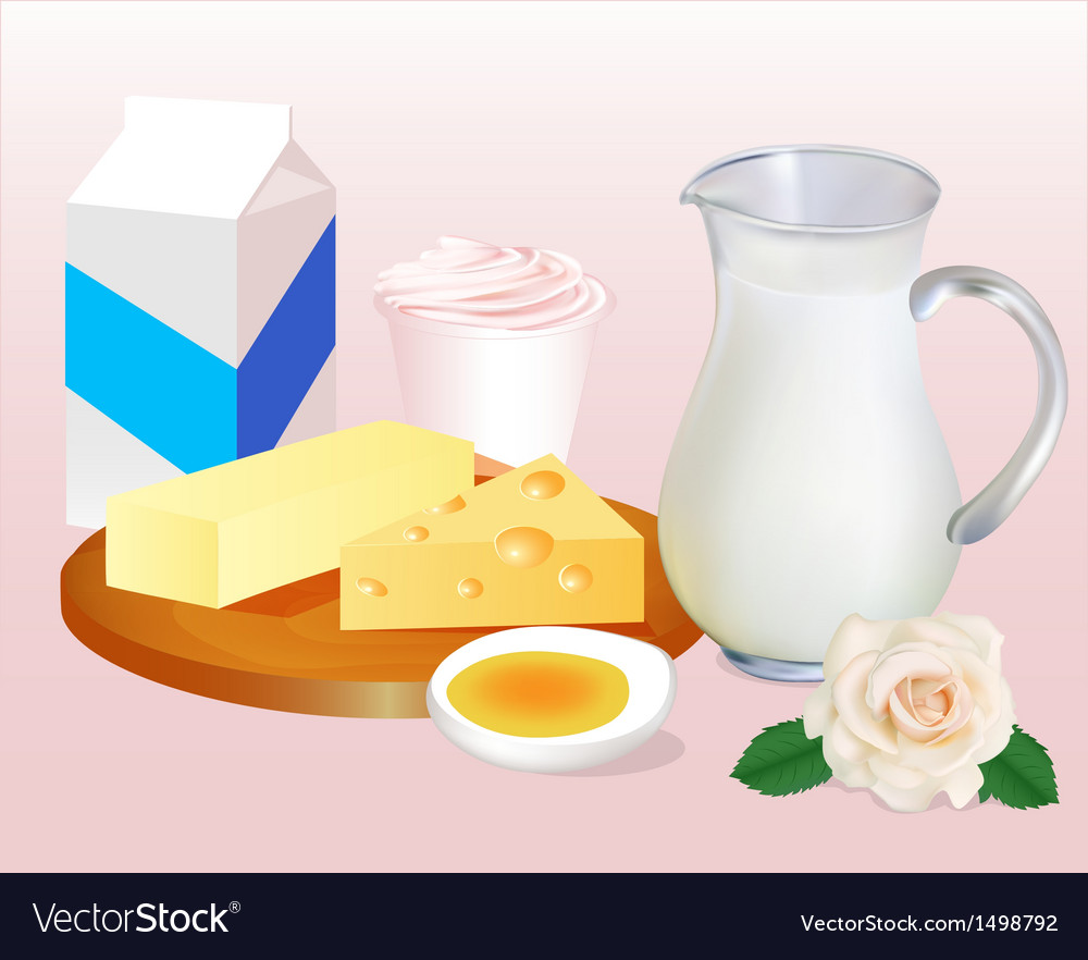 Background with milk butter cheese eggs