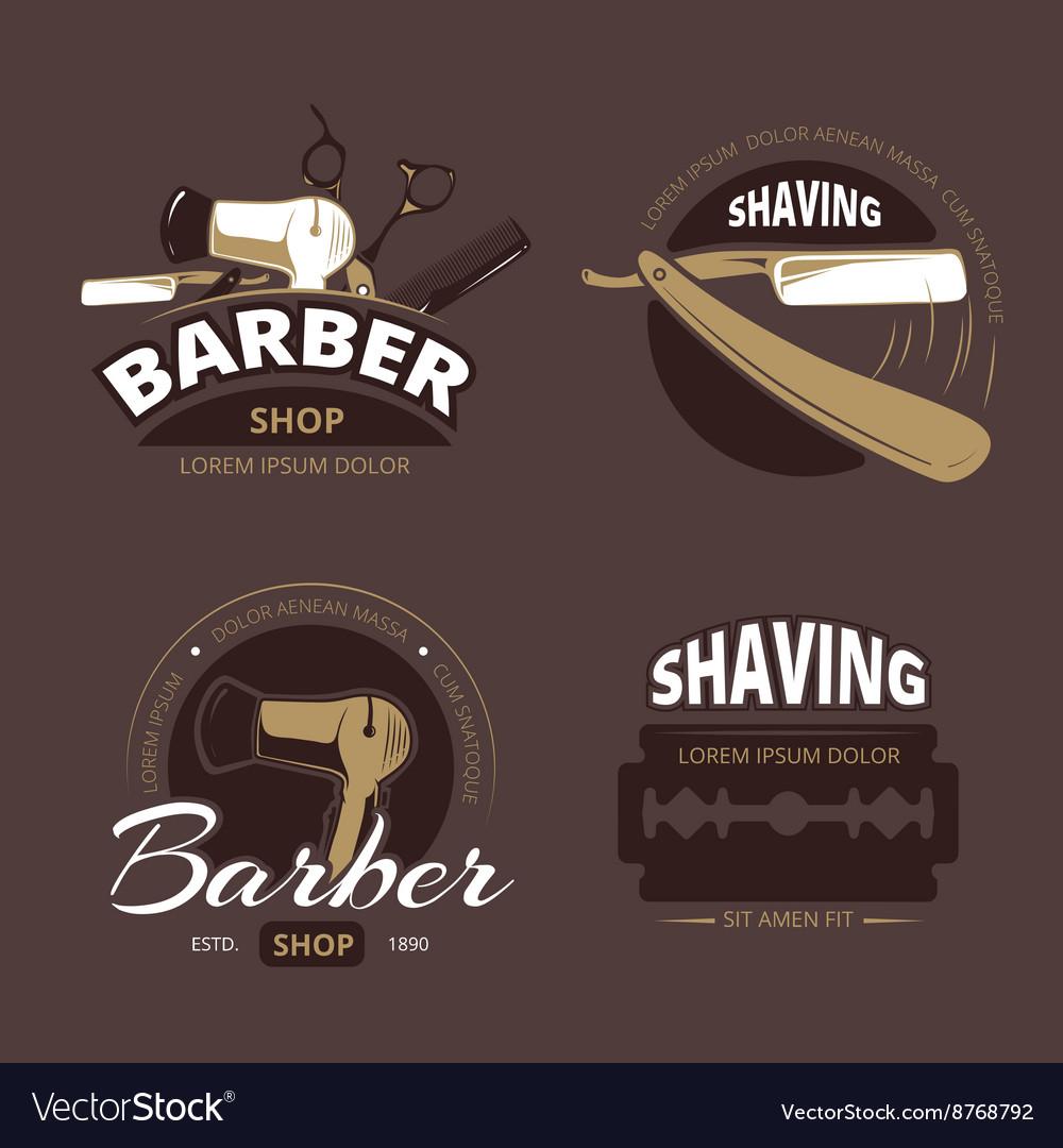 Barber shop and shave vintage logo labels
