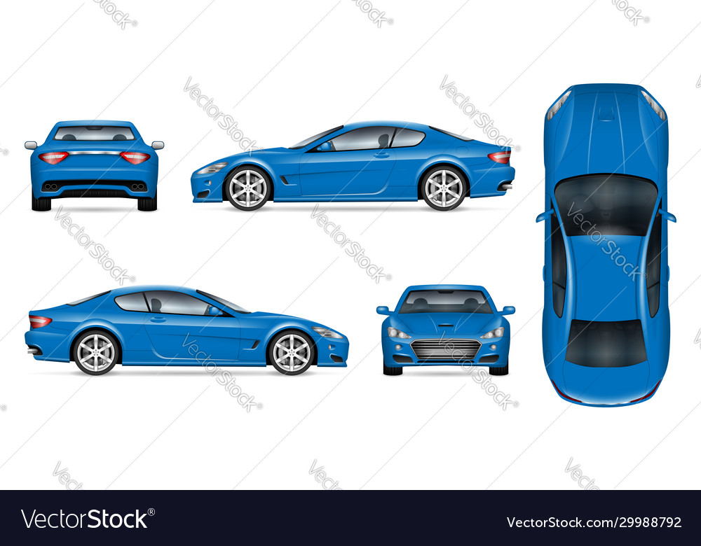 Blue sports car realistic