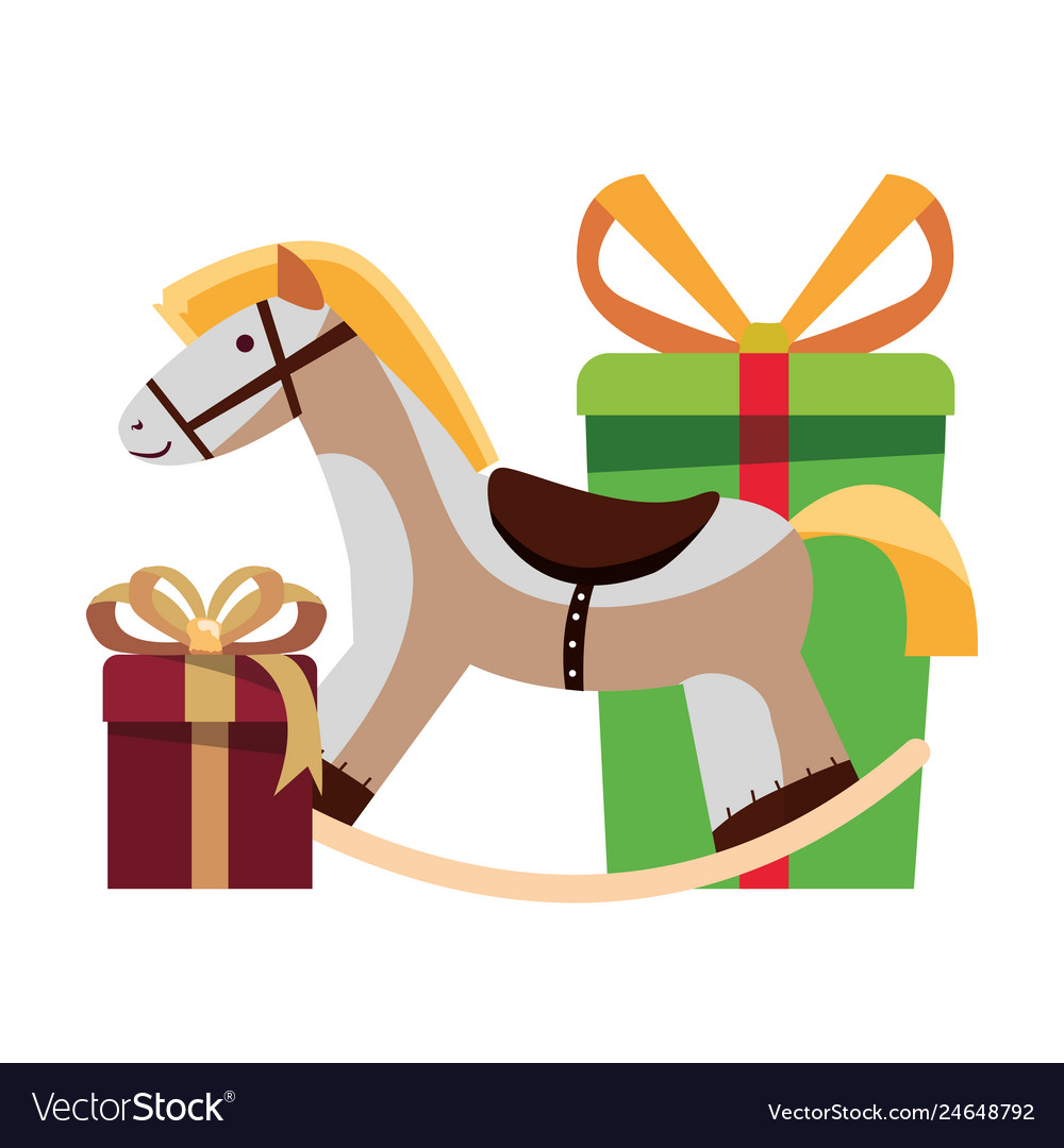 Christmas Rocking Horse And Gifts Decoration Vector Image
