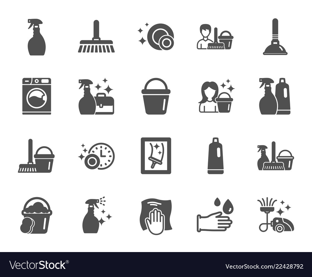 Cleaning icons laundry sponge and vacuum