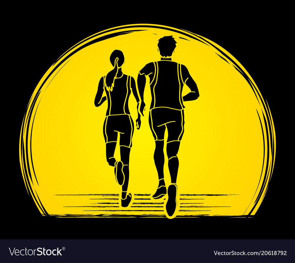 Couple running together marathon runner vector image