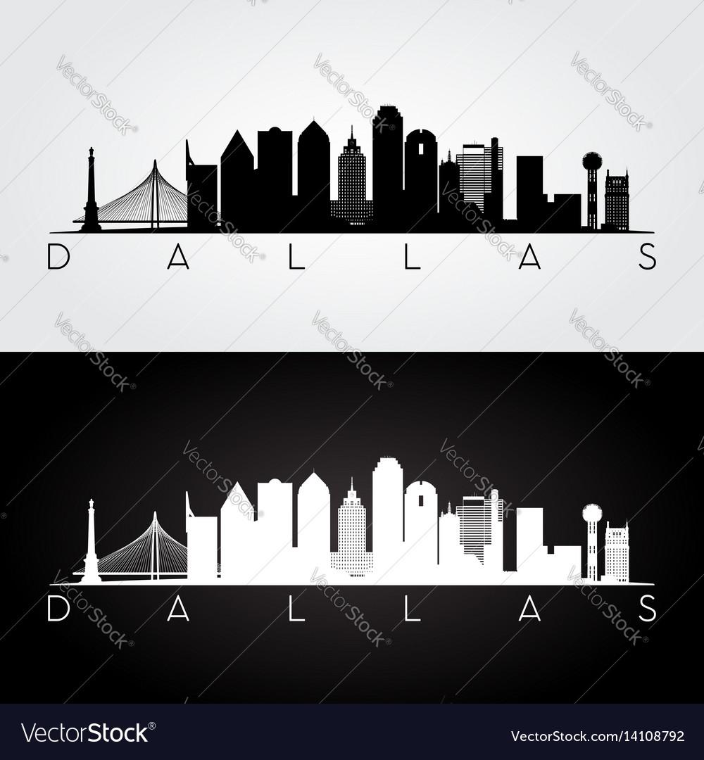 Dallas usa skyline and landmarks silhouette