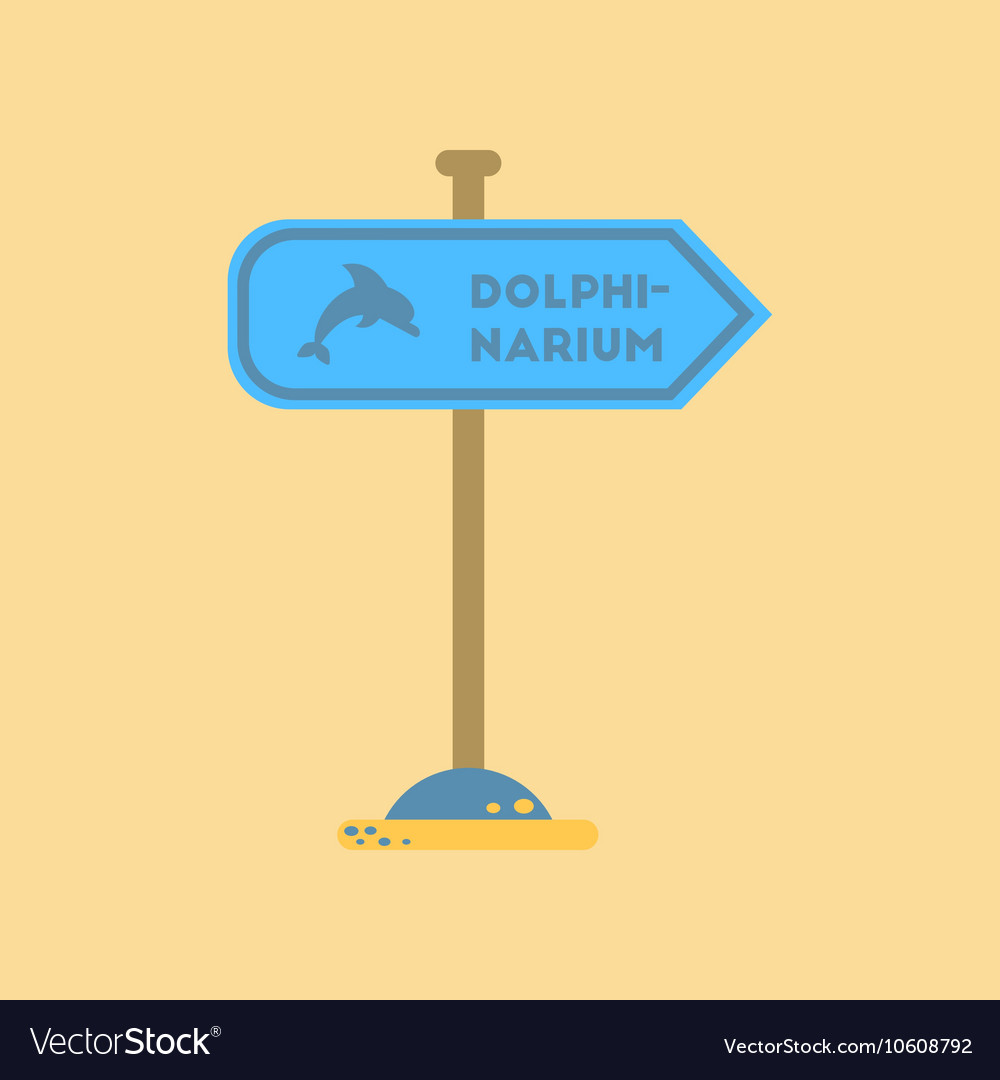 Flat icon on background dolphinarium sign