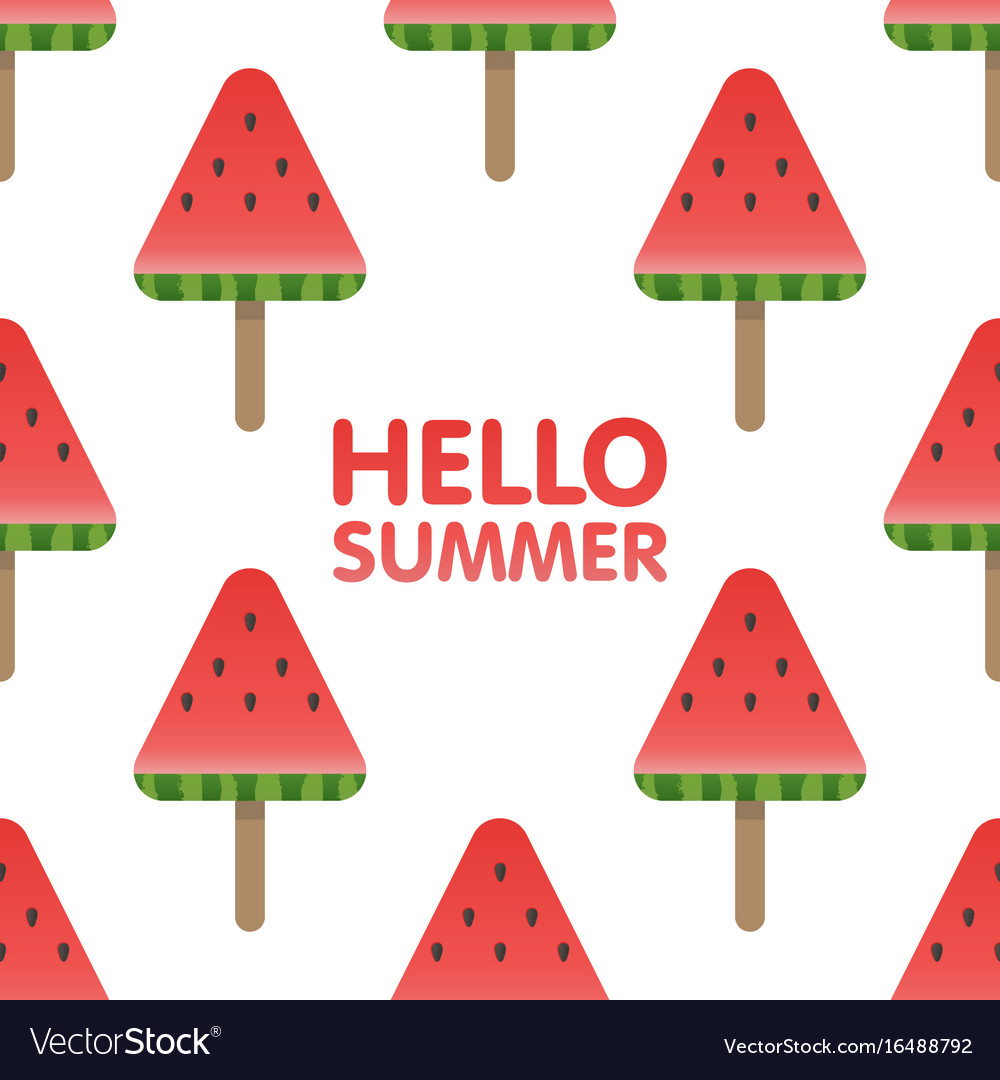 Hello summer letters in seamless watermelon