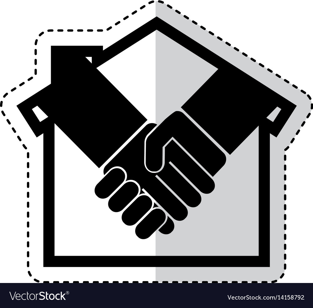 house silhouette with handshake isolated icon vector image