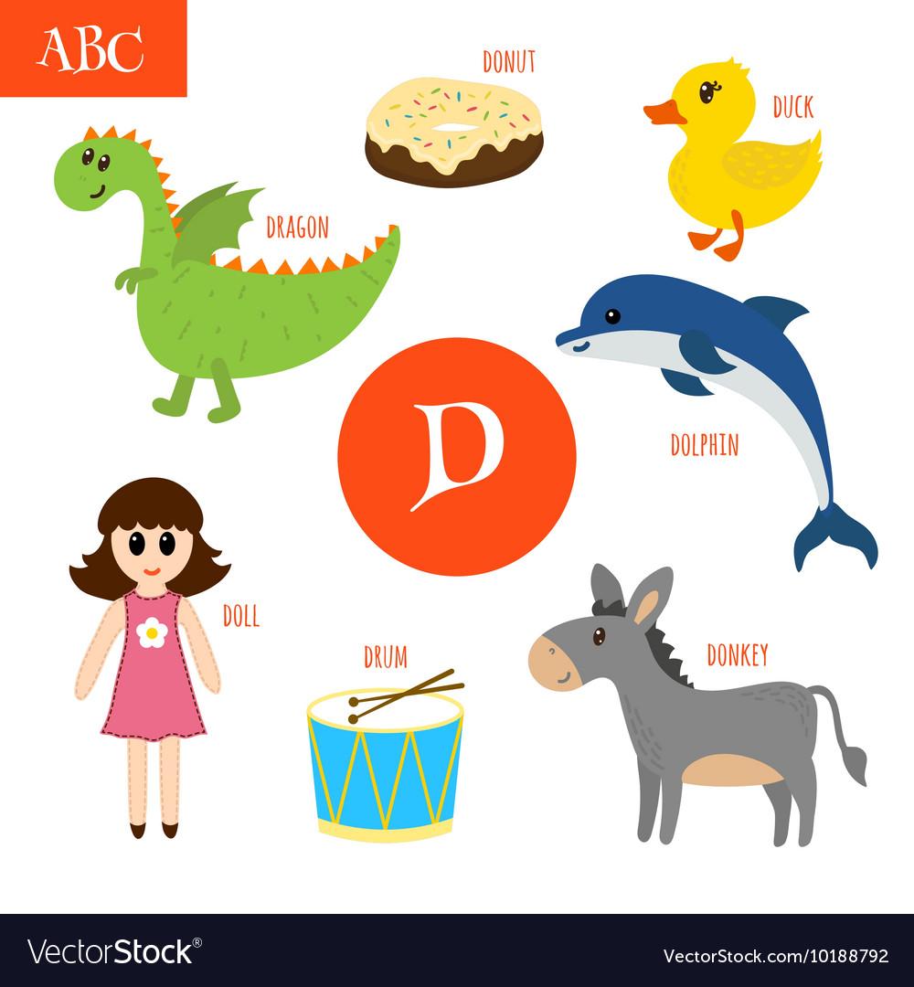 letter d cartoon alphabet for children duck drum vector image