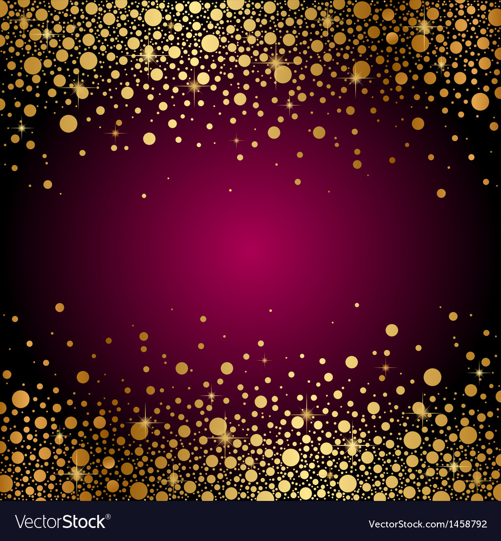 Maroon background gold sparkles vector image