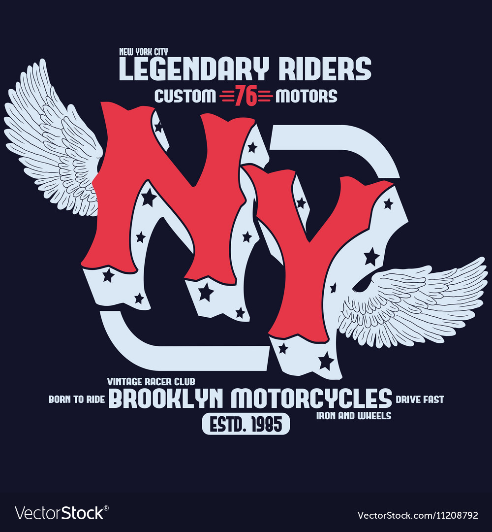 Motorcycle Brooklyn t-shirt print