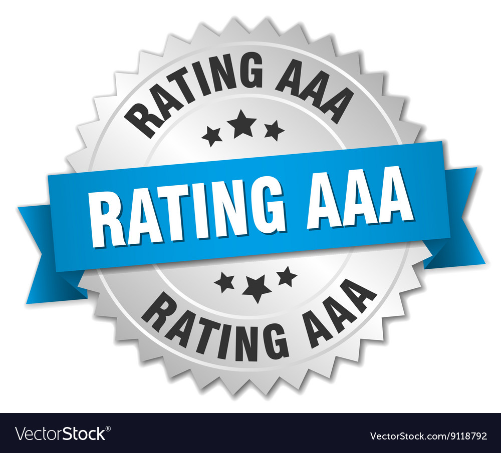 Rating aaa 3d silver badge with blue ribbon