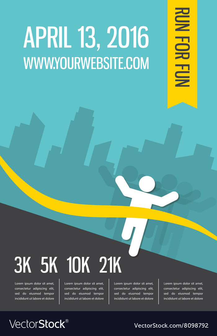 Running marathon people run colorful poster