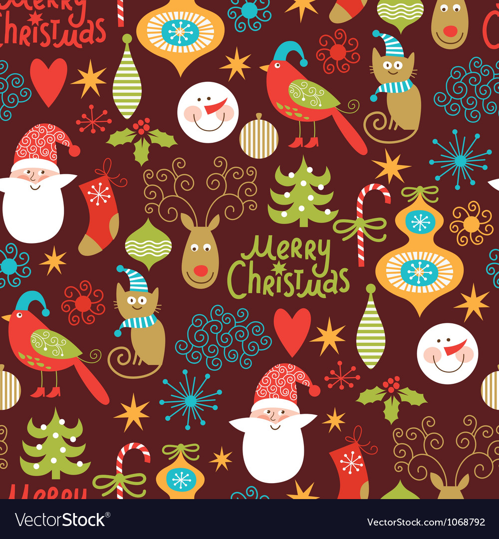 Seamless pattern with New Year elements