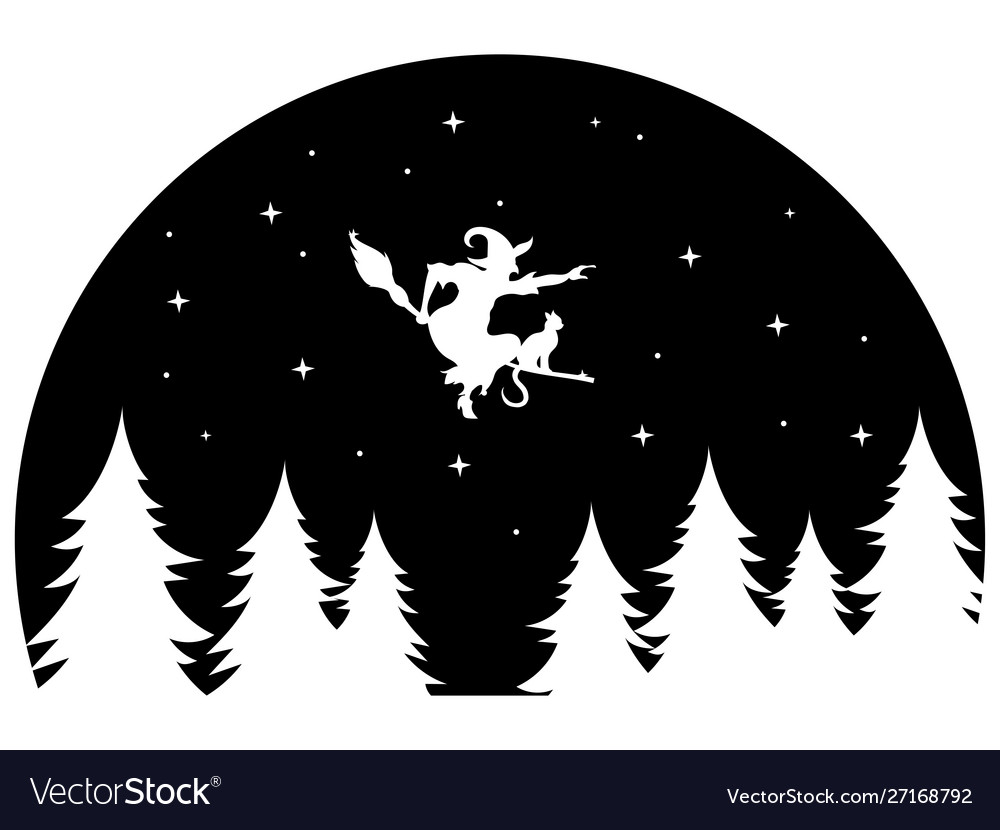 Witch flying on a broomstick at night black and