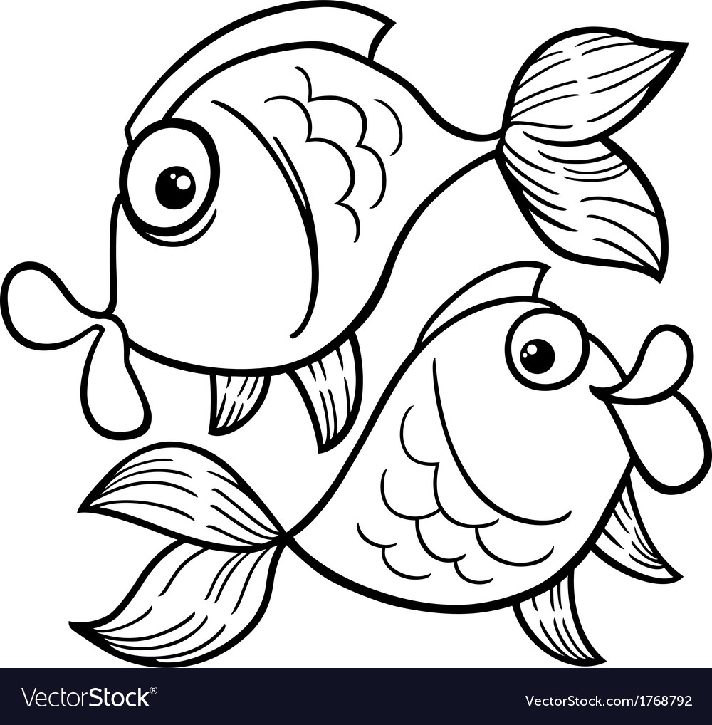 Zodiac Pisces Or Fish Coloring Page Vector Image