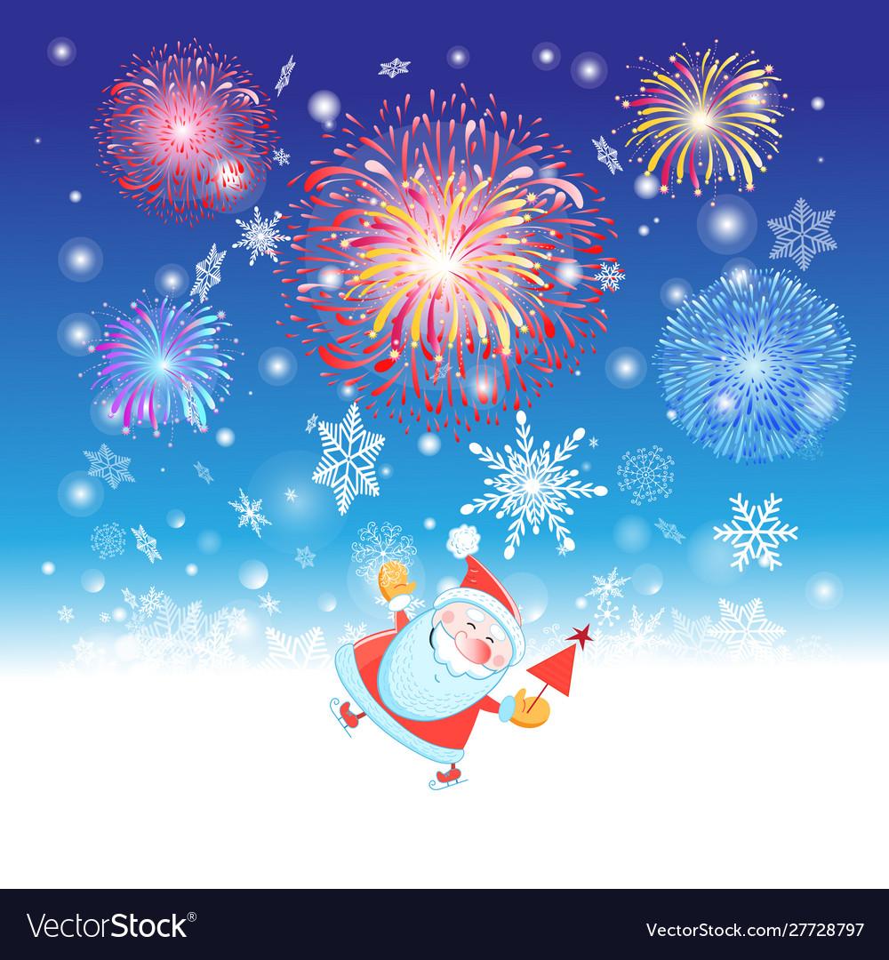 Bright christmas card with santa claus