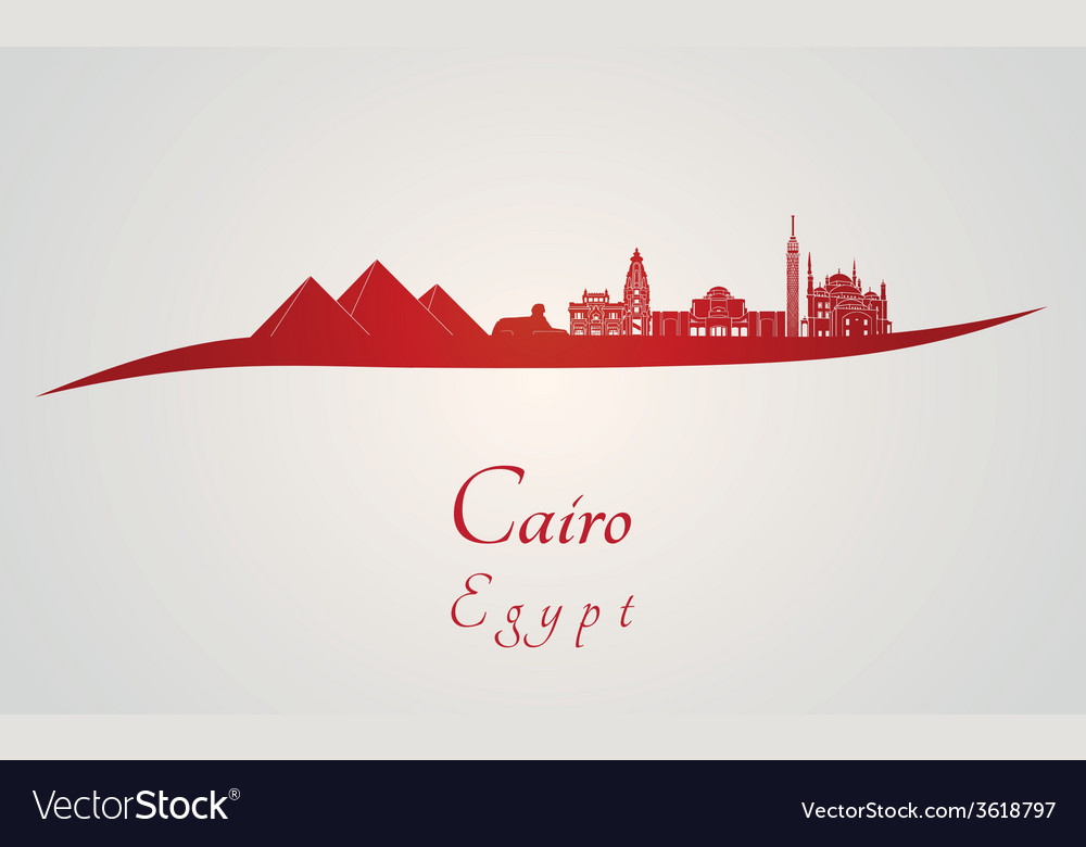 Cairo skyline in red