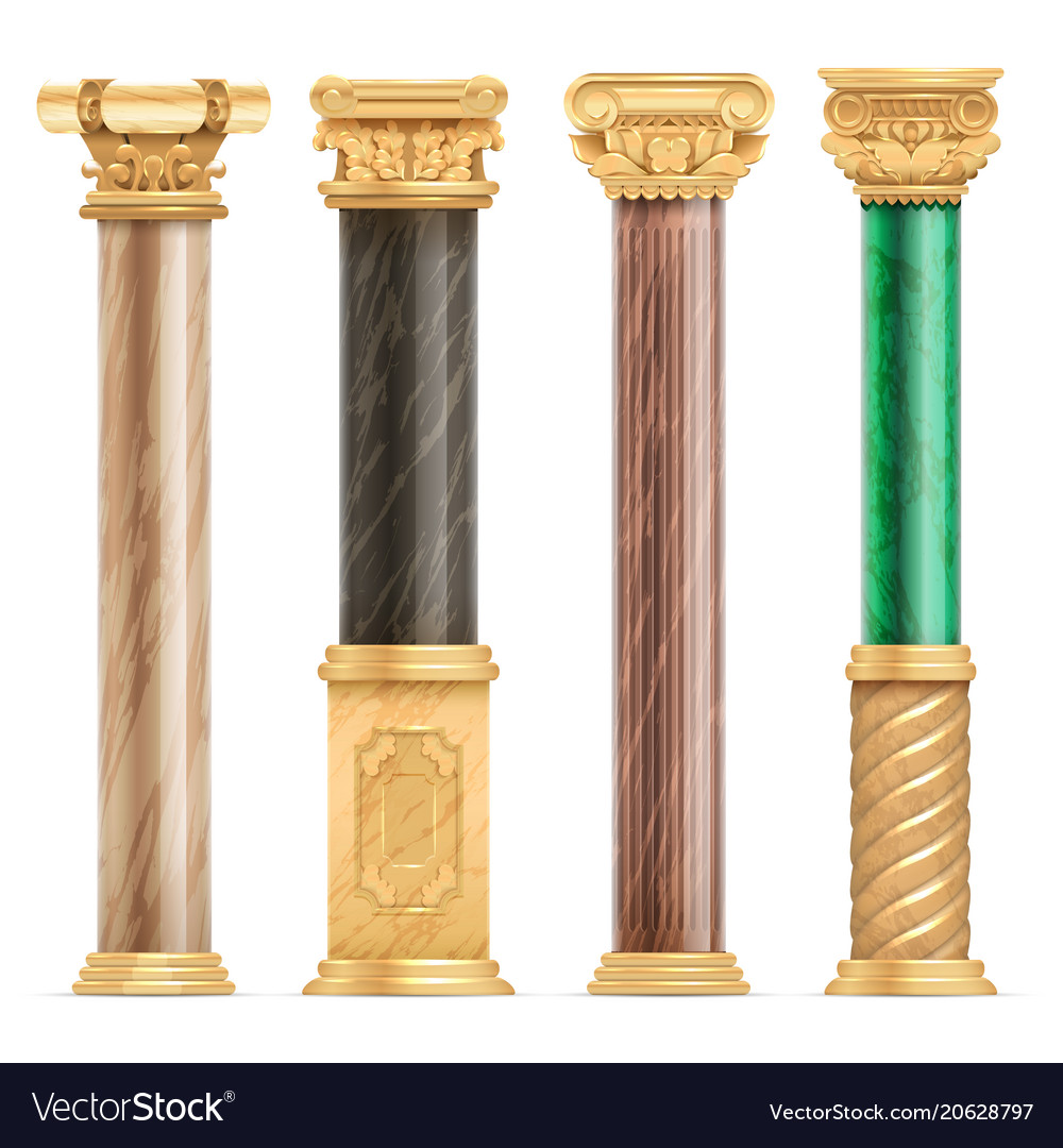Classic arabic architecture golden columns with vector image