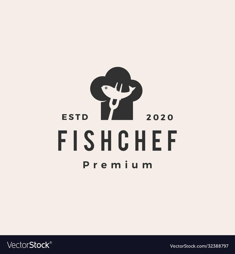 Fish chef hat restaurant hipster vintage logo icon