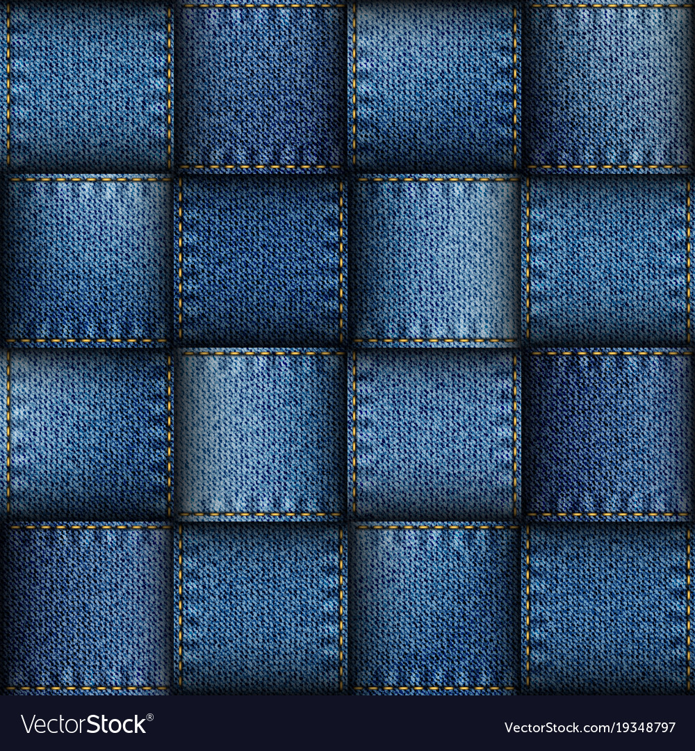 Jeans Patchwork Background Royalty Free Vector Image