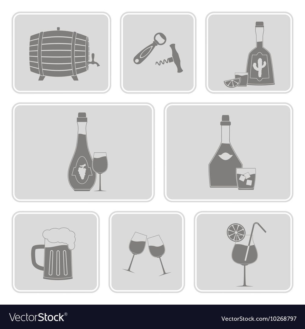Monochrome set with alcohol icons