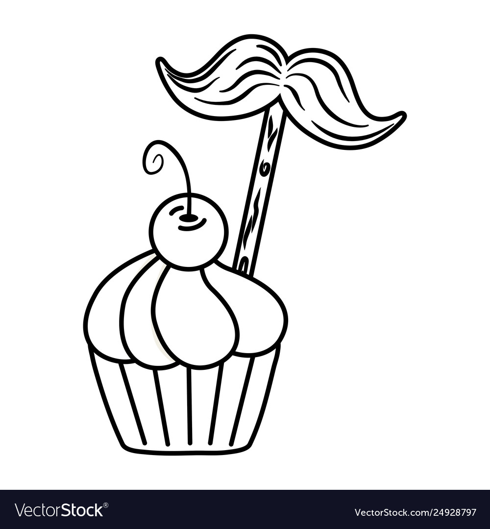 Muffin with moustache black and white