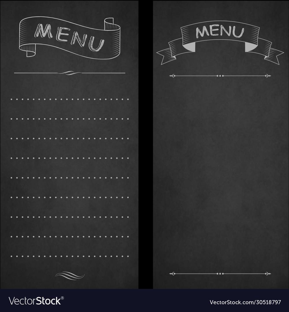 Restaurant menu chalk on blackboard vintage