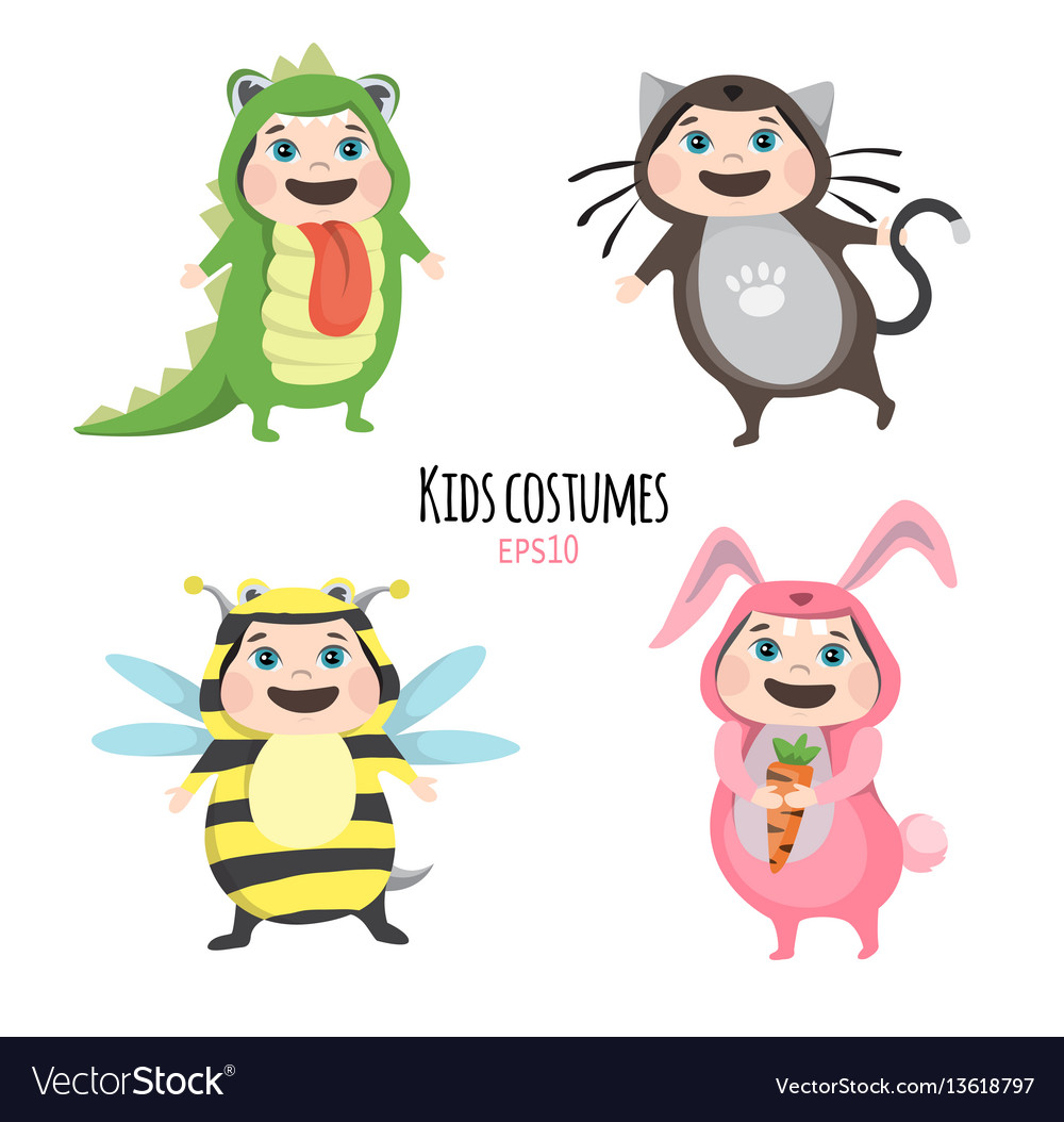 Set of cute kids wearing animal costumes isolated