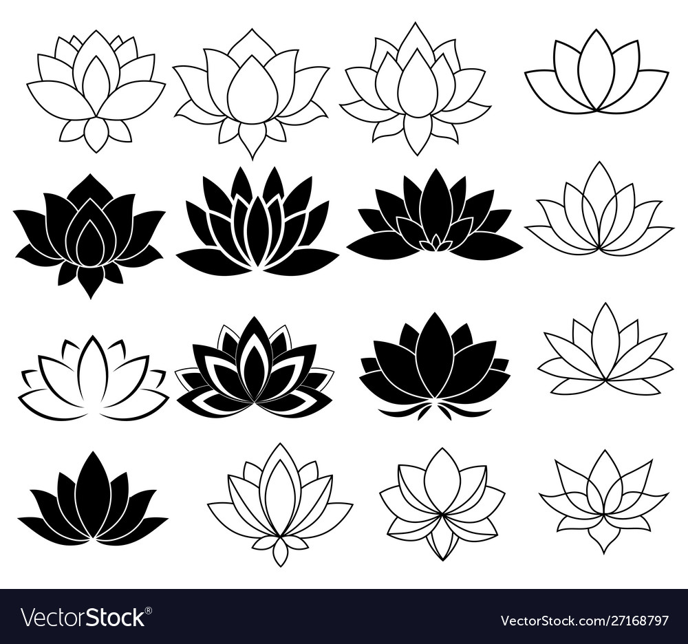 Set stylized lotuses collection lotus