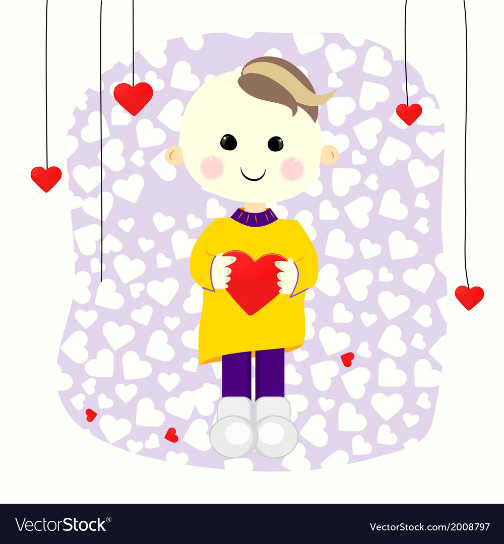Valentine boy with red heart vector image