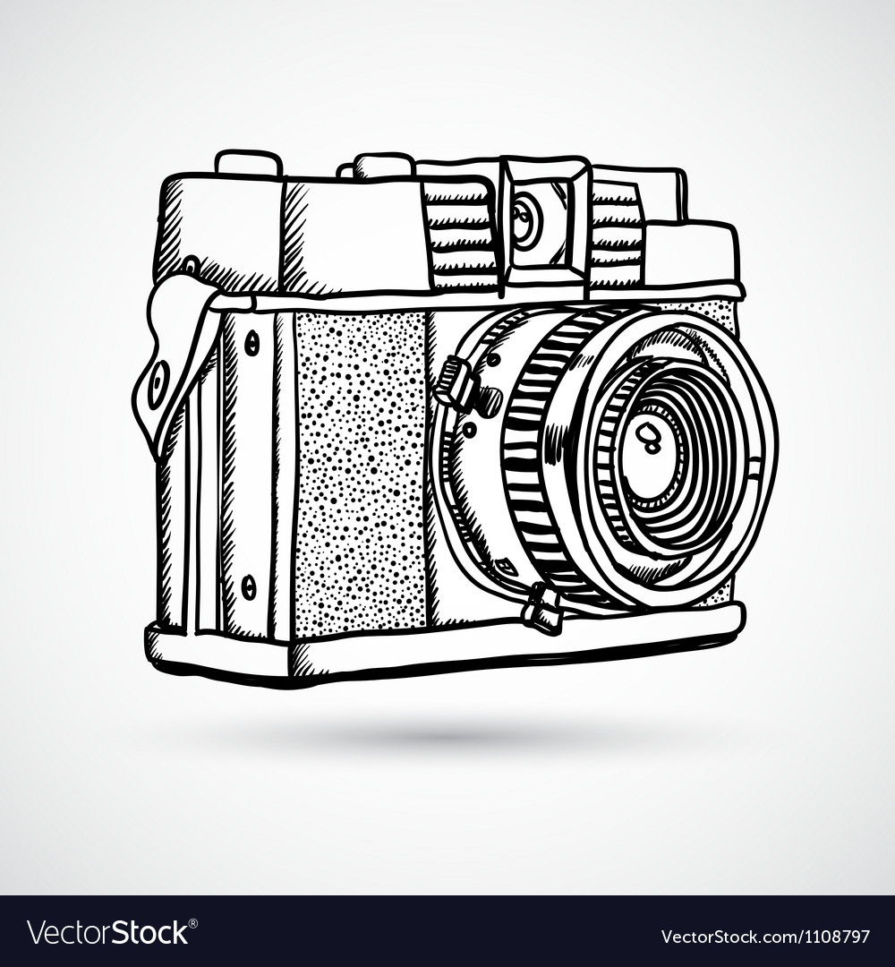 Vintage doodle camera hand-drawn