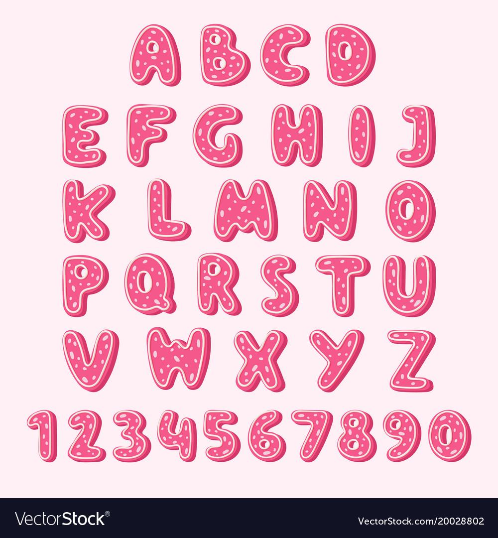 Alphabet cookie food pink color tasty cookies set Vector Image