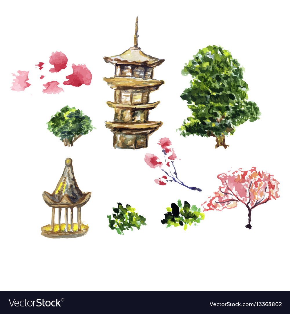 Card or poster with asia landscape building and