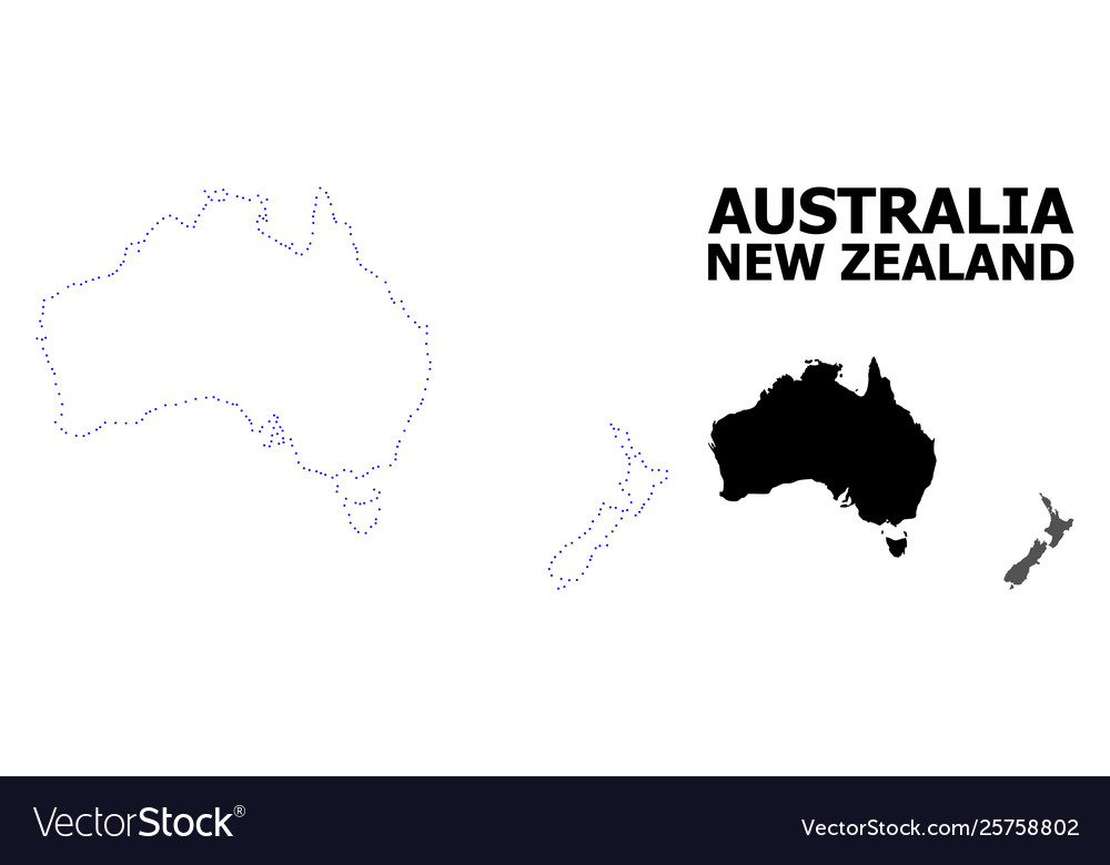 New Zealand Map Australia.Contour Dotted Map Australia And New