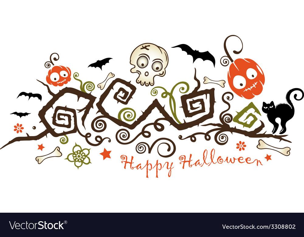 Halloween creepy plant with pumpkins