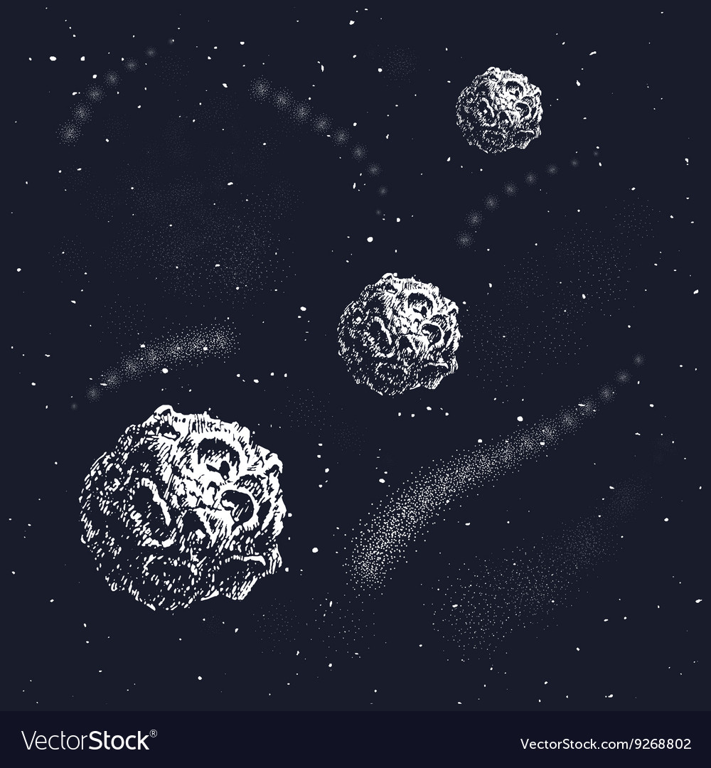 Hand drawn style set galactic objects