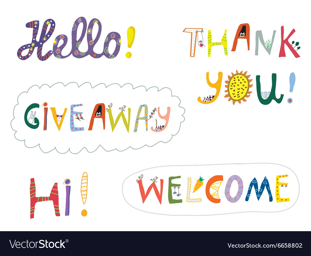 Hello welcome and other greeting words design set vector image m4hsunfo