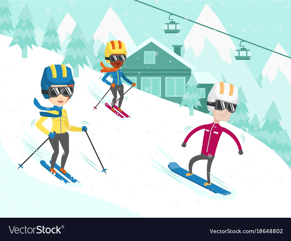 Multicultural people skiing and snowboarding
