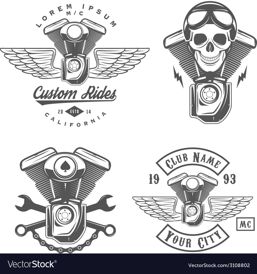 Set of vintage motorcycle engine design elements