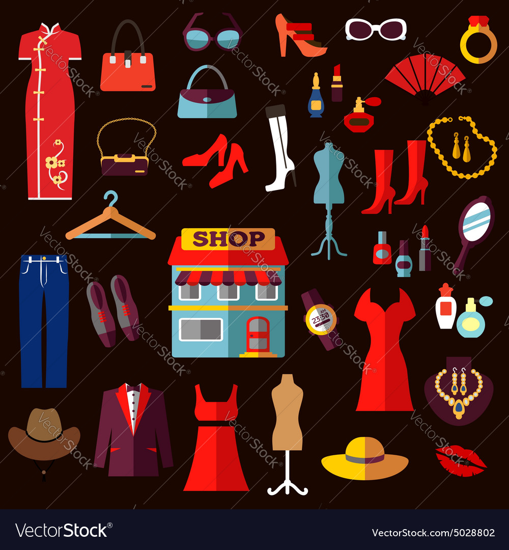 Shopping fashion and beauty flat icons vector image